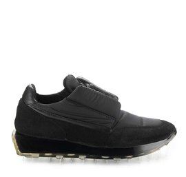SNK-100M trainers in black padded nylon and suede