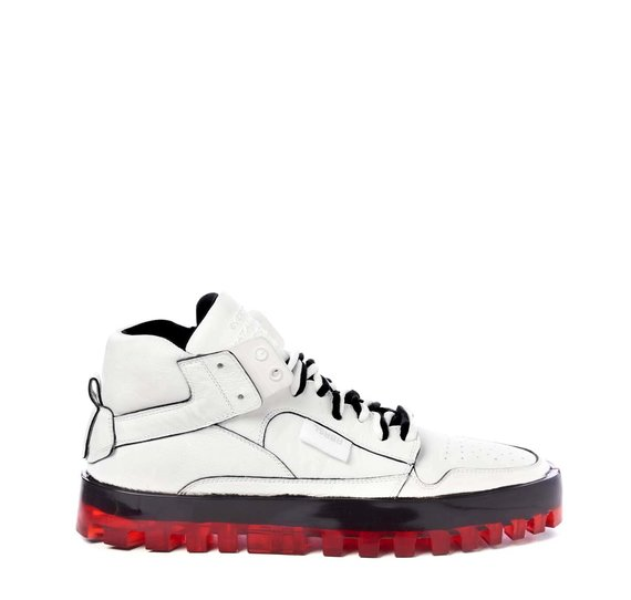 Women's Bold white shoes with red sole
