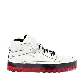Men's Bold white shoes with red sole