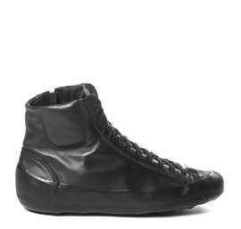 Men's black leather ankle boots with black sole