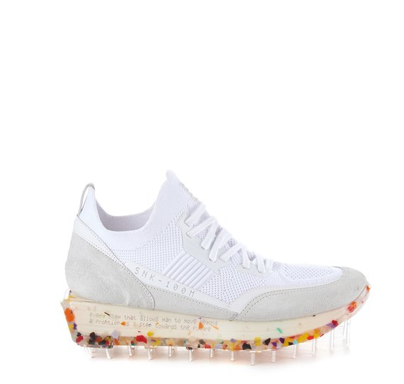 Women's SNK-100M trainers in white technical knit fabric with multicolour sole