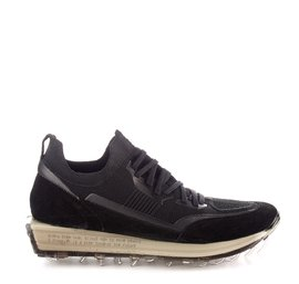 Men's SNK-100M trainers in black technical knit fabric with black sole