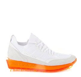 Men's SNK-100M trainers in white technical knit fabric with orange sole
