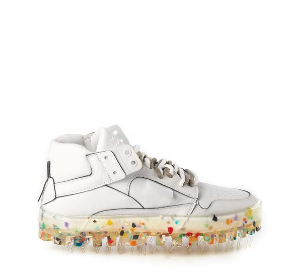 Women's BOLD white leather trainers with multicolour sole