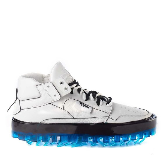 Men's BOLD white leather trainers with blue sole