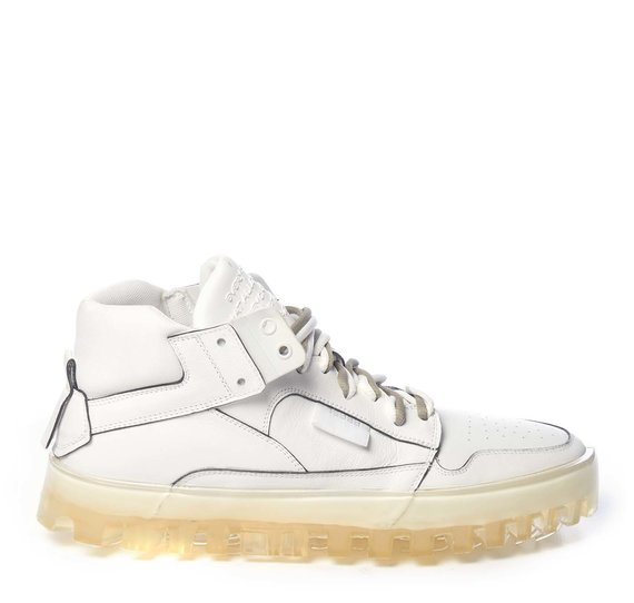 Men's BOLD white leather trainers with see-through sole