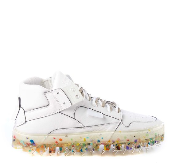 Men's BOLD white leather trainers with multicolour sole