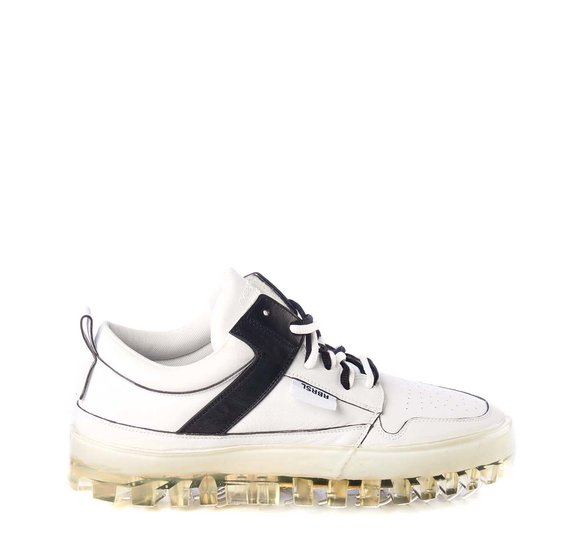 Women's BOLD low-top white leather trainers with black detailing