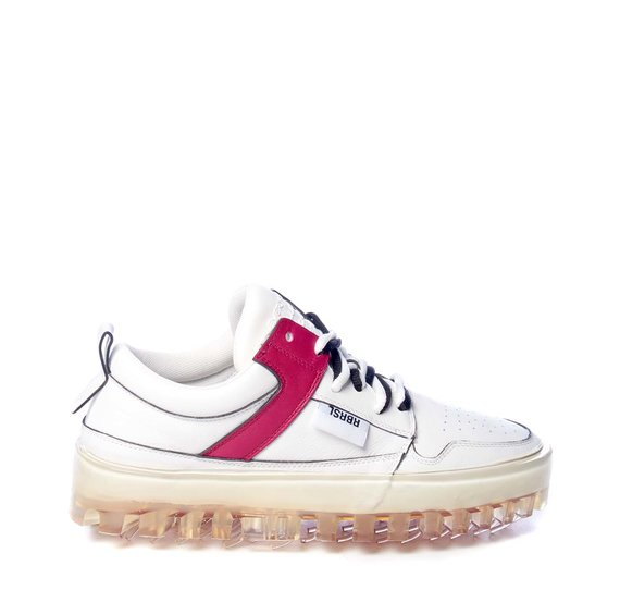 Women's BOLD low-top white leather trainers with red detailing