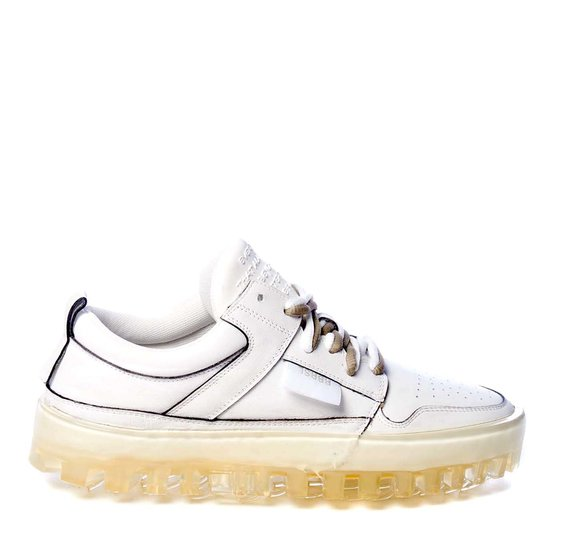 Men's BOLD low-top white leather trainers