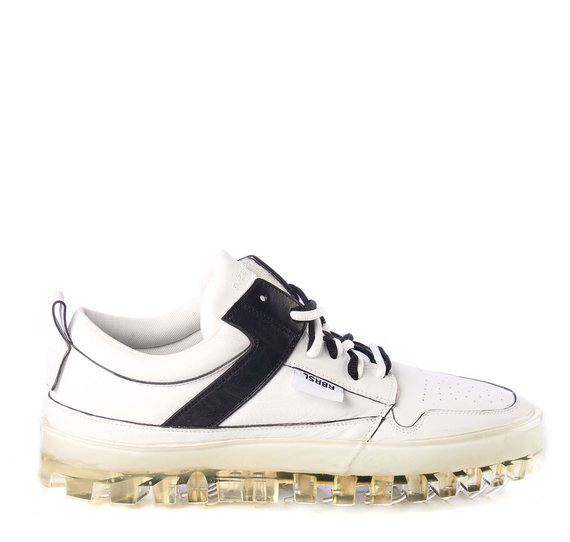 Men's BOLD low-top white leather trainers with black detailing