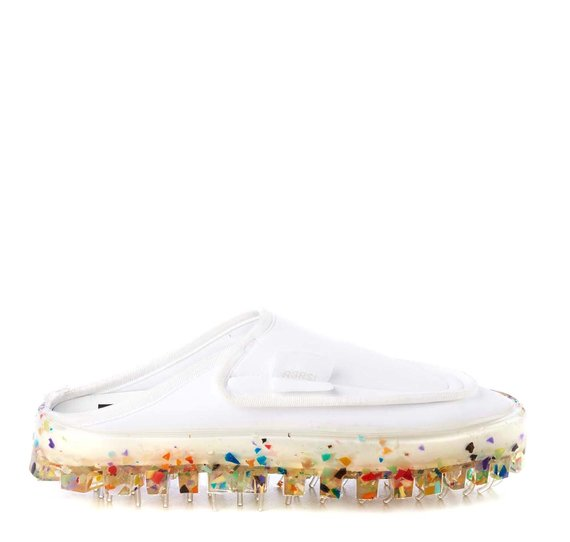 Men's BOLD slippers in breathable white technical fabric with multicolour sole