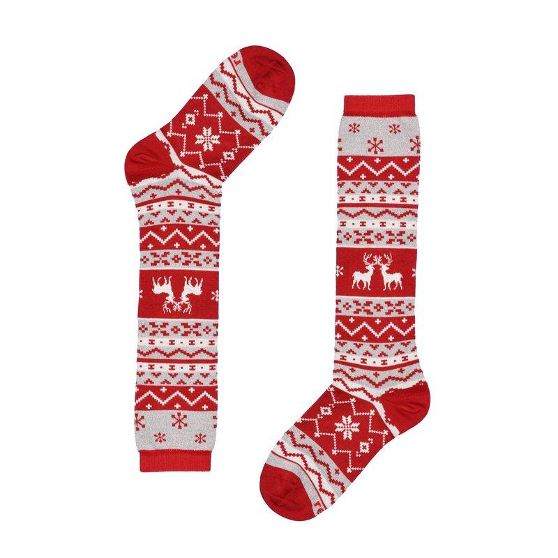 Long socks with reindeer pattern