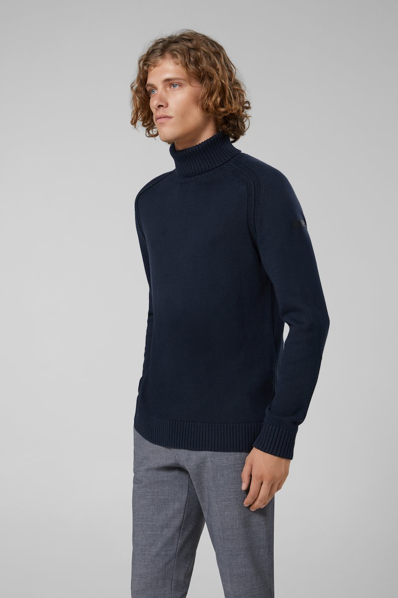 KNIT COTTON PLAIN TURTLENECK