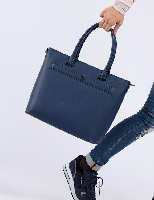 Borsa a trapezio Trussardi Jeans - Navy_Beige
