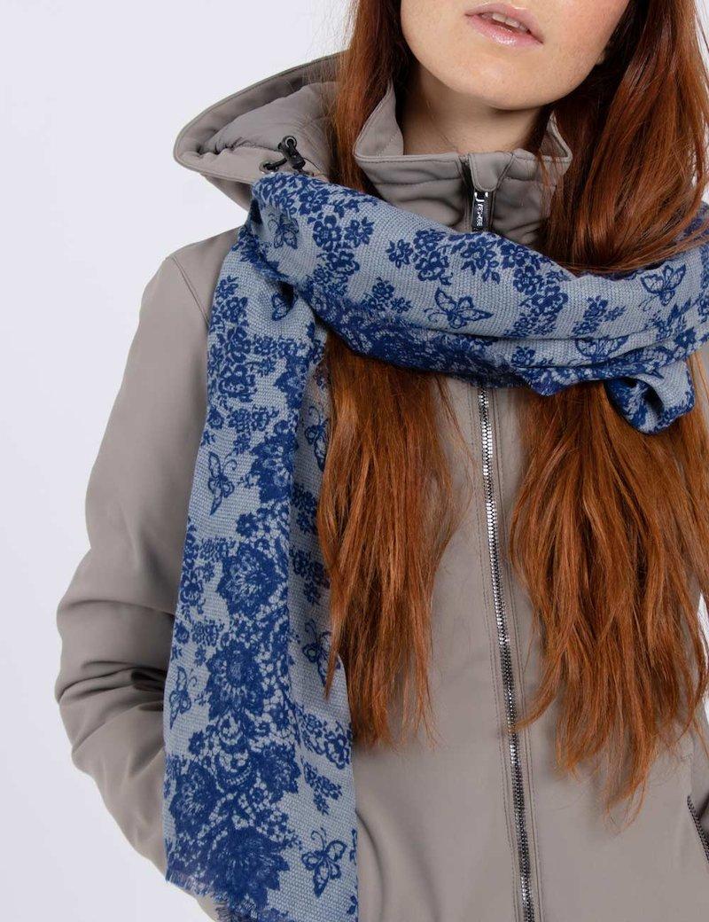 Sciarpa con fiori - Blu