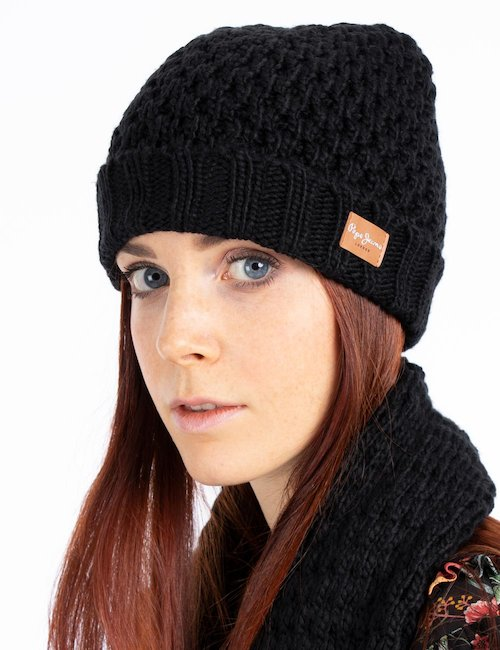 Cappello invernale con logo - Nero