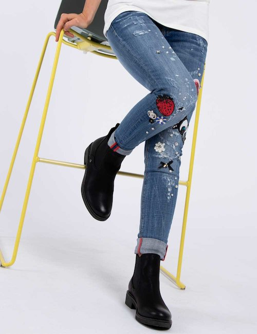 Jeans Fracomina skinny con strass glamour - Blu