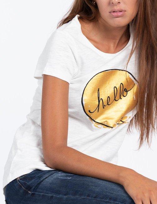 T-shirt Maison Espin con stampa - Bianco