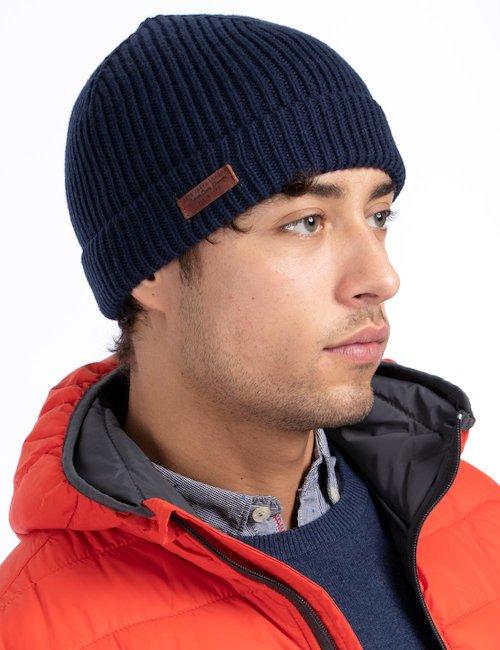 Cappello invernale con logo - Navy_Beige