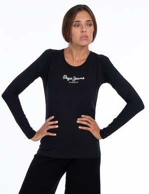 T-shirt Pepe Jeans manica lunga con scritta