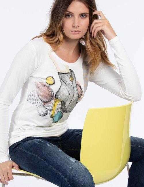T-shirt manica lunga con stampa - Beige