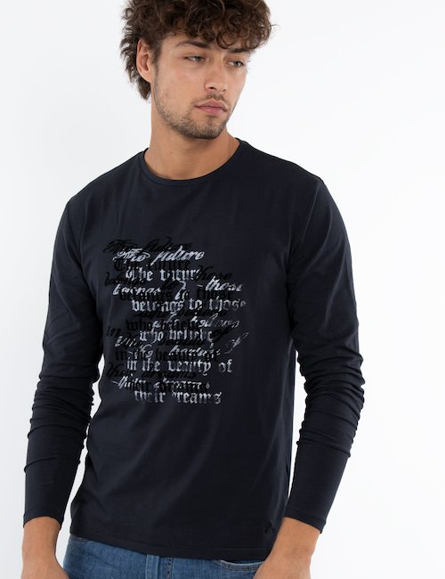 T-shirt Yes Zee manica lunga - Blue_Black_White