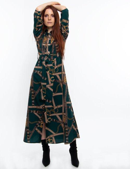 Vestito lungo fantasia - Fant.verde