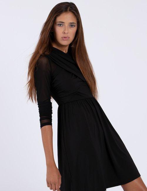 Vestito Guess corto con drappeggio - Nero