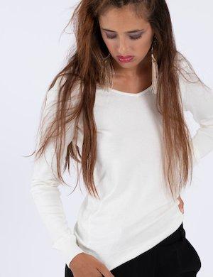 Maglione Guess bianco ampio scollo
