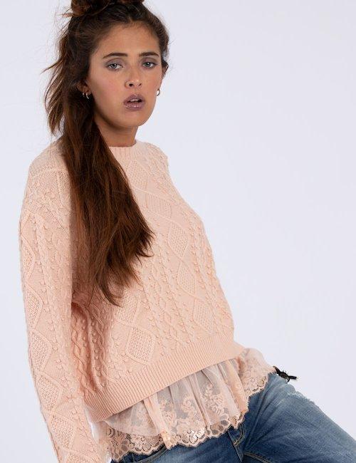 Maglione Guess rosa con tulle - Rosa