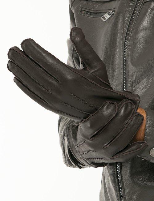 Guanti Gant in pelle e cashmere - Marrone