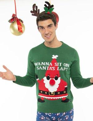 Maglione Blend Babbo Natale con pompon