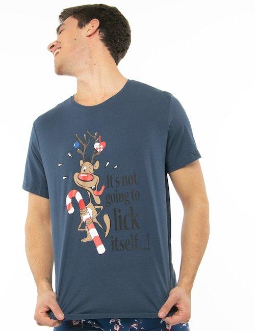 T-shirt Blend con renna stampata - Blu