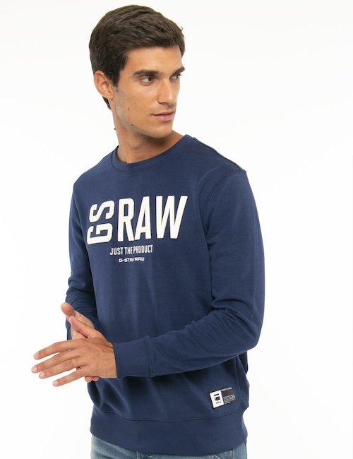 Felpa G-Star Raw con logo applicato - Blu