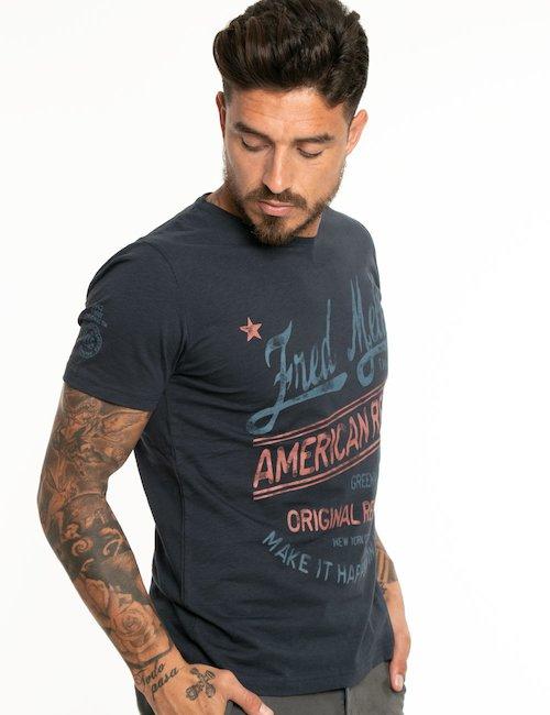T-shirt Fred Mello con logo e scritte - Blu