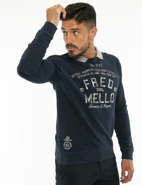 Felpa Fred Mello con collo revers - Blu