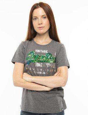 T-shirt Superdry logo con paillettes