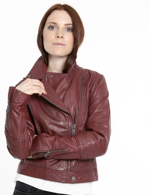 Giacca Pepe jeans in pelle effetto vintage - Bordeaux