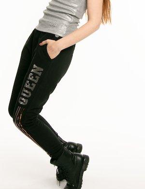 Pantalone Imperfect scritta strass