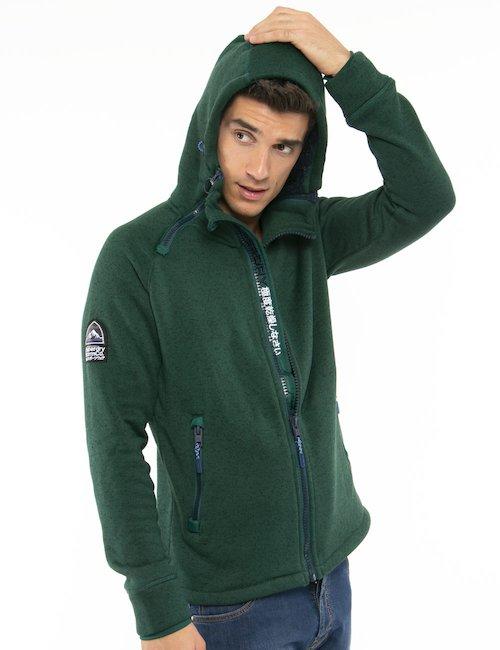 Maglione Superdry con zip e cappuccio - Verde