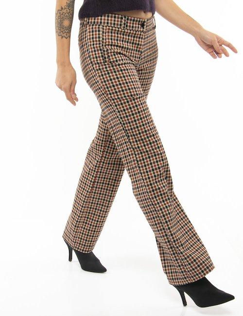 Pantalone Vougue a quadretti taglio regolare - Marrone