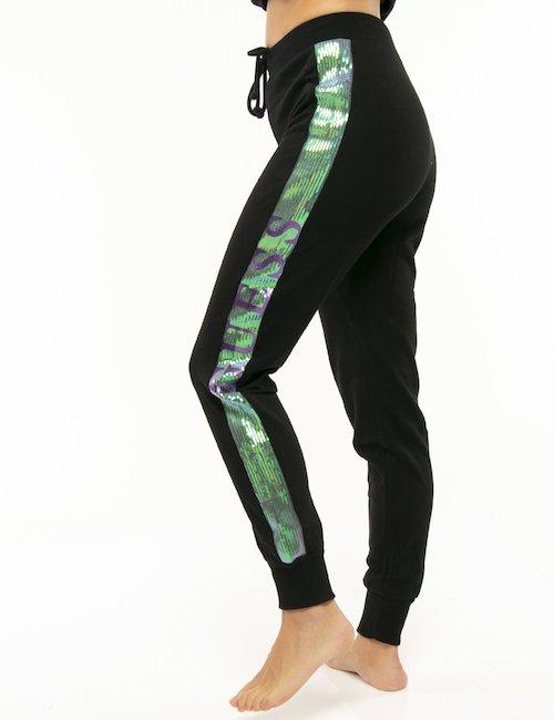 Pantalone Guess con banda strass - Nero