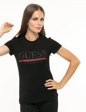 T-shirt Guess logo glitterato