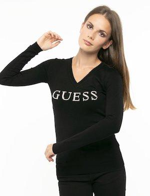 Maglia Guess logo strass in rilievo