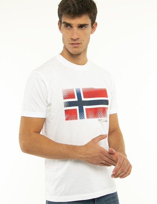 T-shirt Napapijri con bandiera norvegese - Bianco