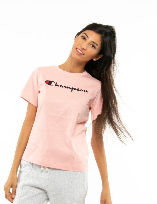 T-shirt Champion con logo in rilievo - Rosa