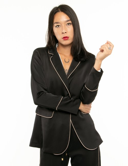 Blazer Vougue con bordi a contrasto - Nero