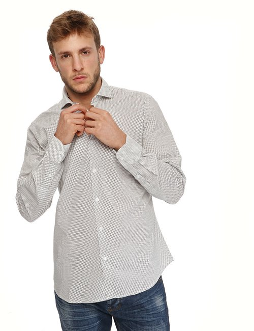 Camicia Yes Zee a pois - Bianco