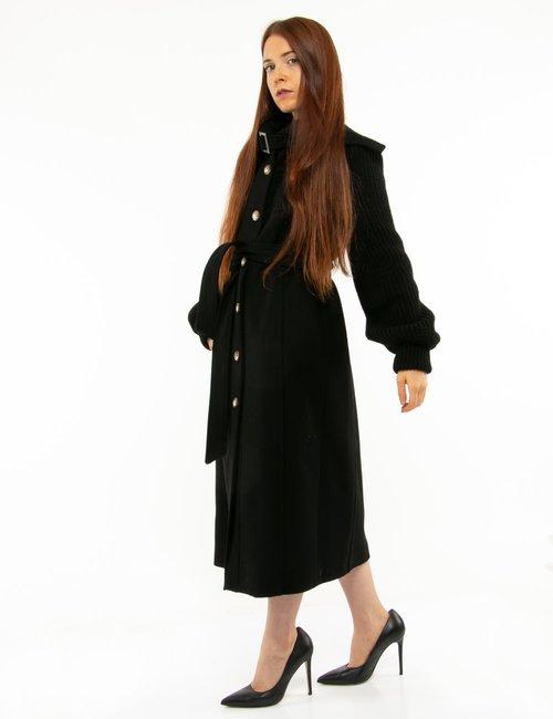 Cappotto Manila Grace con maniche in maglia - Nero